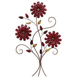 Red Floral Bouquet Wall Decor