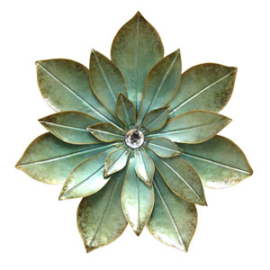 Green Embellished Flower Wall Decor