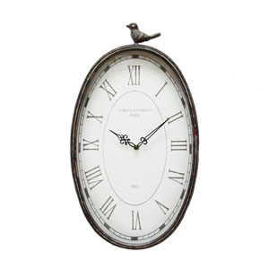 Antique Oval Bird Clock