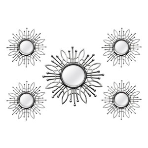 Five-Piece Silver Burst Wall Mirror