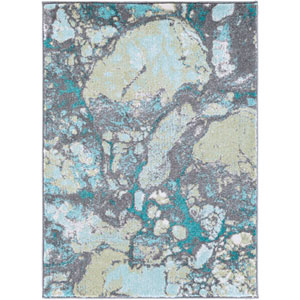 Aberdine Teal and Gray Rectangular: 5 Ft 2 In x 7 Ft 6 In Rug