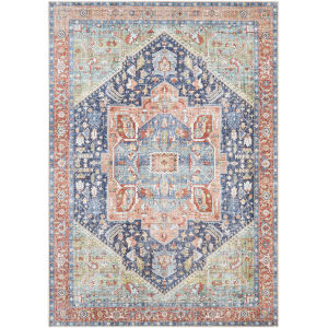 Amelie Teal and Blush Rectangle 5 Ft. 3 In. x 7 Ft. 3 In. Rugs