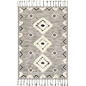 Apache Black and Cream Rectangle Hand Woven 8 Ft. x 10 Ft. Rug