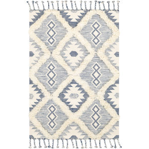 Apache Dark Blue and Cream Rectangle 6 Ft. x 9 Ft. Rugs