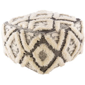 Apache Black and Cream 22-Inch Ottoman