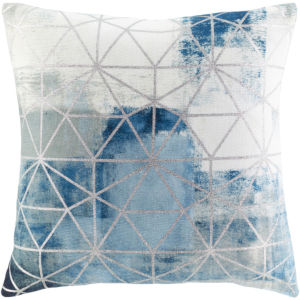 Balliano Aqua and Metallic Silver 20 x 20 Inch Throw Pillow