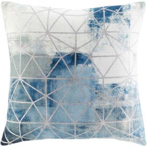 Balliano Aqua and Metallic Silver 20 x 20 Inch Throw Pillow