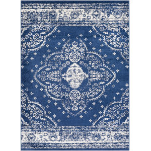 Chester Dark Blue Rectangle 6 Ft. 7 In. x 9 Ft. Machine Woven Rug