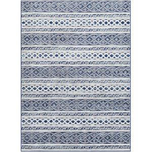 Chester Dark Blue Stripe Rectangle 6 Ft. 7 In. x 9 Ft. Rug
