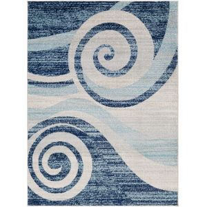 Chester Dark Blue Wave Rectangle 6 Ft. 7 In. x 9 Ft. Rug