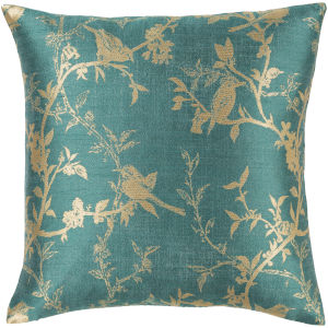 Calliope Teal 22-Inch Pillow With Down Fill