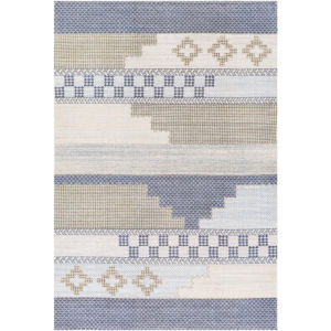 Didim Taupe and Teal Rectangular: 6 Ft. x 9 Ft. Rug