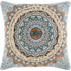 Dayna Ivory and Bright Blue 20 x 20 Inch Throw Pillow