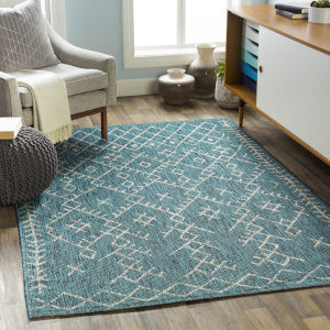 Eagean Aqua Rectangular: 7 Ft. 10 In. x 10 Ft. 2 In. Indoor-Outdoor Rug