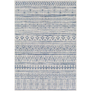 Eagean Denim, Navy and White Square: 6 Ft. 7 In. x 6 Ft. 7 In. Rug