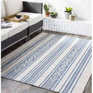 Eagean Bright Blue Rectangular: 7 Ft. 10 In. x 10 Ft. 2 In. Indoor-Outdoor Rug