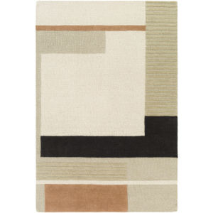 Emma Khaki, Charcoal and Camel Rectangular: 8 Ft. x 10 Ft. Rug
