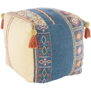 Emilia White and Bright Blue 16-Inch Ottoman