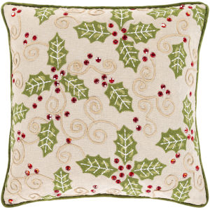 Holly Berry Wheat 20-Inch Throw Pillow