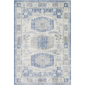 Indigo Denim and White Rectangular: 7 Ft. 10 In. x 10 Ft. 2 In. Rug