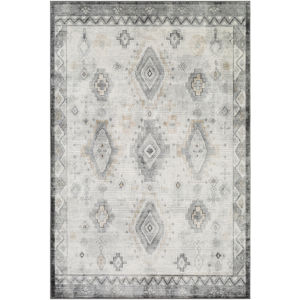 Indigo Taupe and White Rectangular: 6 Ft. 7 In. x 9 Ft. Rug