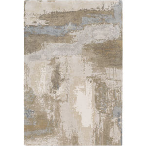Kavita Plae Blue and Tan Rectangular: 10 Ft. x 14 Ft. Rug