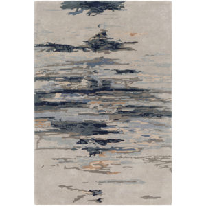 Kavita Taupe and Navy Rectangular: 5 Ft. x 7 Ft. 6 In. Rug