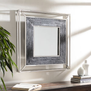 Allure Gray and Silver 32-Inch Wall Mirror