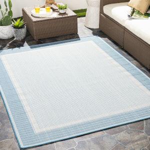 Montego bay Sky Blue Rectangular: 7 Ft. 10 In. x 10 Ft. Indoor-Outdoor Rug