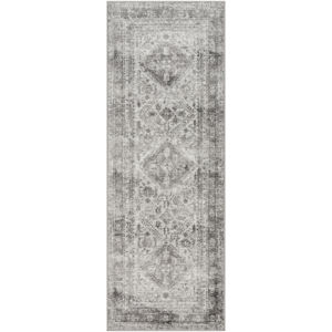 Monte Carlo Light Gray, White and Charcoal Runner: 2 Ft. 7 In. x 7 Ft. 3 In. Rug