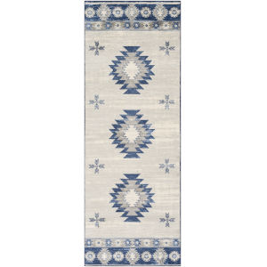 Monaco Navy and Gray Runner 2 Ft. 7 In. x 7 Ft. 3 In. Rugs