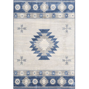 Monaco Navy and Gray Rectangle 6 Ft. 7 In. x 9 Ft. 6 In. Rugs