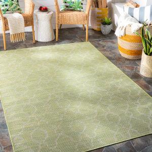 Pasadena Grass Green Rectangular: 6 Ft. 4 In. x 9 Ft. Indoor-Outdoor Rug