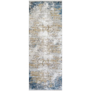 Solar Sky Blue and Taupe Runner: 3 Ft. x 8 Ft. Rug