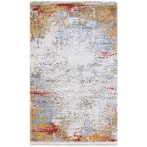 Solar Burnt Orange and Bright Yellow Runner:  3 Ft. x 9 Ft. 10 In. Rug