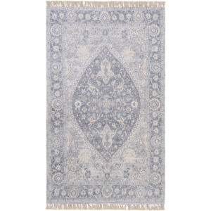 Sivas Pale Blue and Camel Rectangular: 5 Ft. x 7 Ft. 6 In. Rug