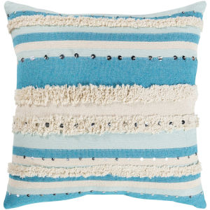 Temara Aqua 22-Inch Pillow With Polyester Fill