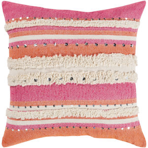 Temara Pink 22-Inch Pillow With Down Fill