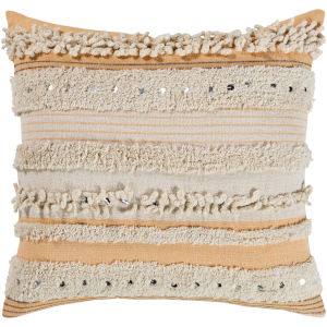 Temara Peach 22-Inch Pillow With Polyester Fill