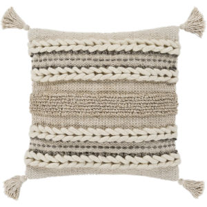 Tov Taupe 20-Inch Pillow With Polyester Fill