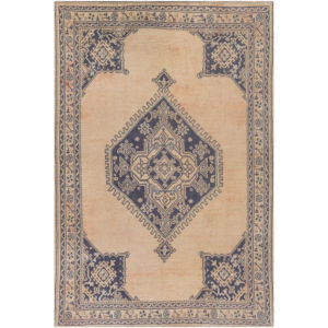 Unique Peach and Olive Rectangular: 7 Ft. 6 In. x 9 Ft. 6 In. Rug