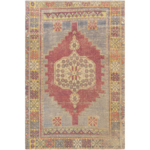 Unique Bright Red, Saffron and Ivory Rectangular: 5 Ft. x 7 Ft. 6 In. Rug