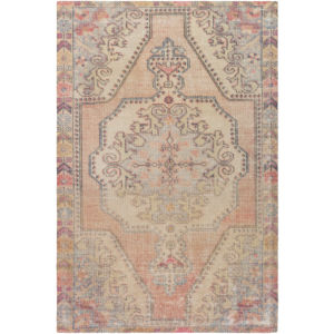Unique Ivory, Bright Orange and Pink Rectangular: 7 Ft. 6 In. x 9 Ft. 6 In. Rug