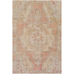 Unique Bright Orange, Wheat and Ivory Rectangular: 7 Ft. 6 In. x 9 Ft. 6 In. Rug