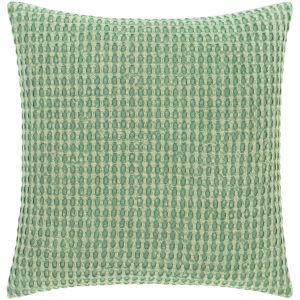 Waffle Dark Green 22-Inch Throw Pillow