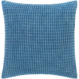 Waffle Bright Blue 22-Inch Throw Pillow