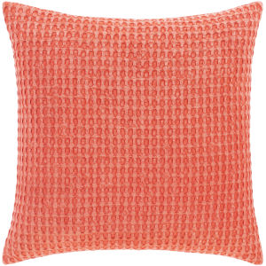 Waffle Bright Orange 18-Inch Throw Pillow