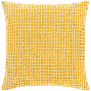 Waffle Bright Yellow 22-Inch Throw Pillow