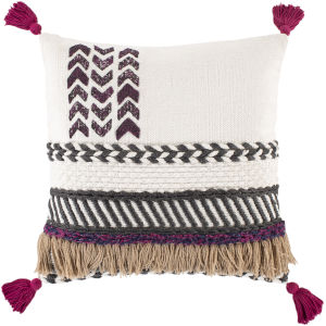 Zuri White and Charcoal 22-Inch Throw Pillow