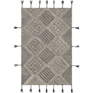 Zanafi Tassels Black and Beige Rectangular: 8 Ft. x 10 Ft. Rug